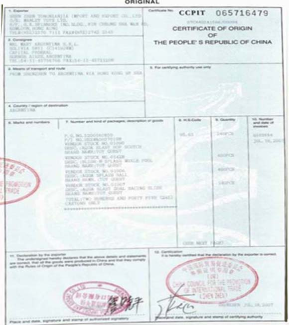 Certificate of OriginCO – Sample Certificate of Origin